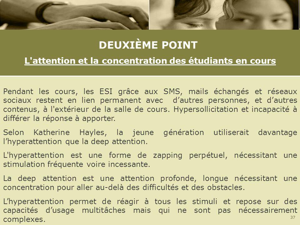 DEUXIÈME POINT L'attention et la concentration des étudiants en cours Pendant les cours, les ESI grâce aux SMS, mails échangés et réseaux sociaux rest