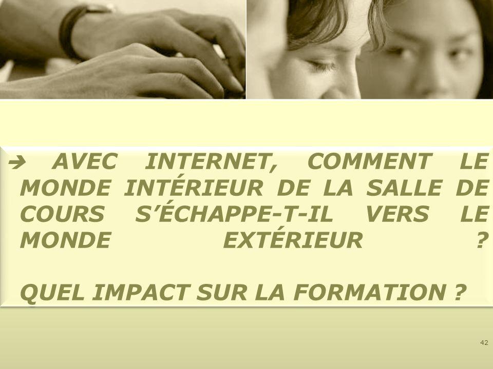 AVEC INTERNET, COMMENT LE MONDE INTÉRIEUR DE LA SALLE DE COURS SÉCHAPPE-T-IL VERS LE MONDE EXTÉRIEUR ? QUEL IMPACT SUR LA FORMATION ? 42