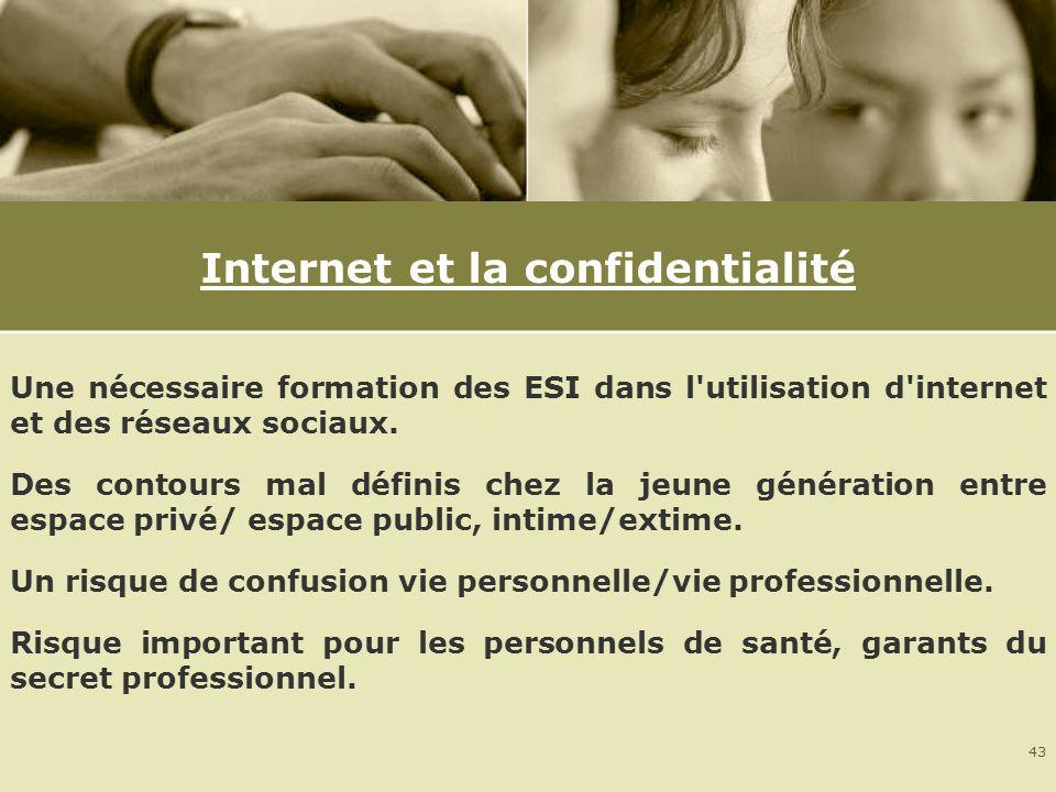 43 Internet et la confidentialité Une nécessaire formation des ESI dans l'utilisation d'internet et des réseaux sociaux. Des contours mal définis chez