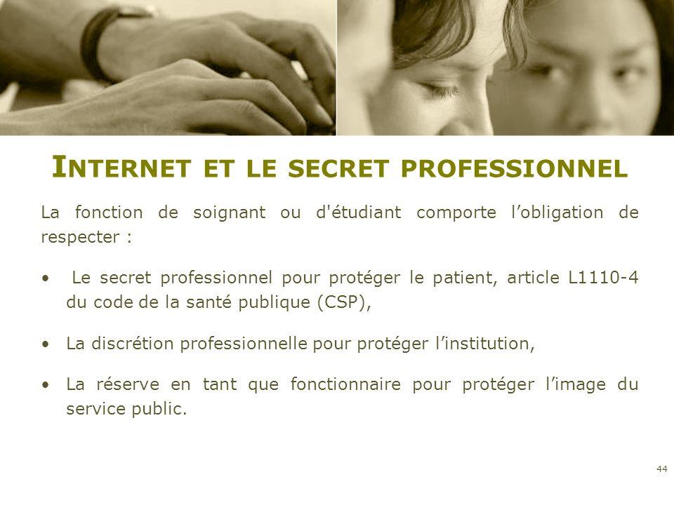 I NTERNET ET LE SECRET PROFESSIONNEL La fonction de soignant ou d'étudiant comporte lobligation de respecter : Le secret professionnel pour protéger l