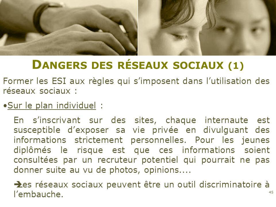 D ANGERS DES RÉSEAUX SOCIAUX (1) Former les ESI aux règles qui simposent dans lutilisation des réseaux sociaux : Sur le plan individuel : En sinscriva