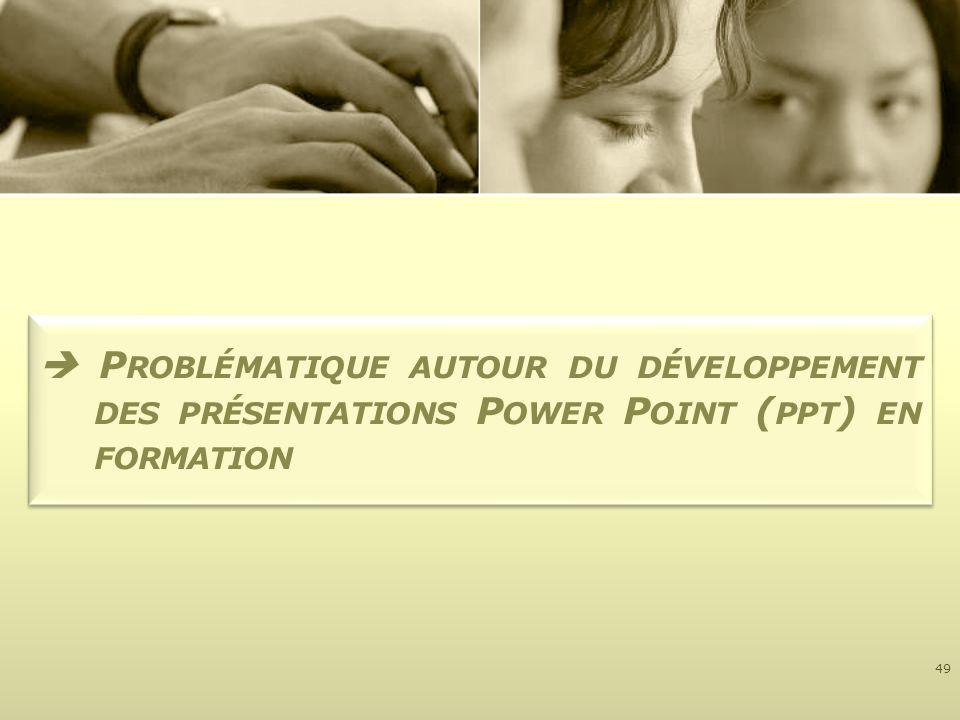 P ROBLÉMATIQUE AUTOUR DU DÉVELOPPEMENT DES PRÉSENTATIONS P OWER P OINT ( PPT ) EN FORMATION 49