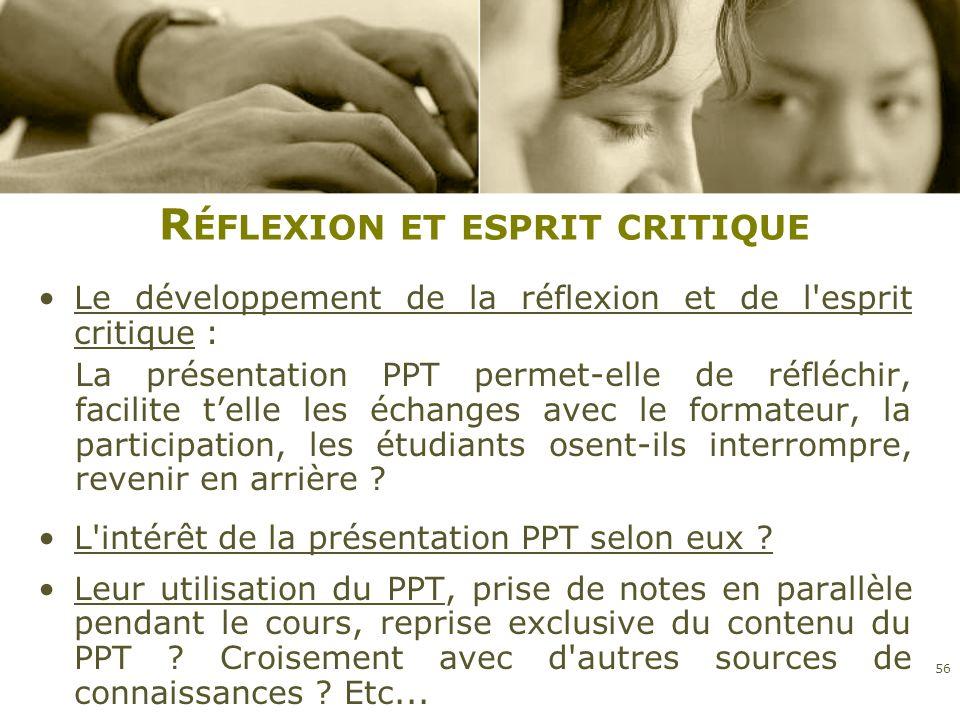 R ÉFLEXION ET ESPRIT CRITIQUE Le développement de la réflexion et de l'esprit critique : La présentation PPT permet-elle de réfléchir, facilite telle
