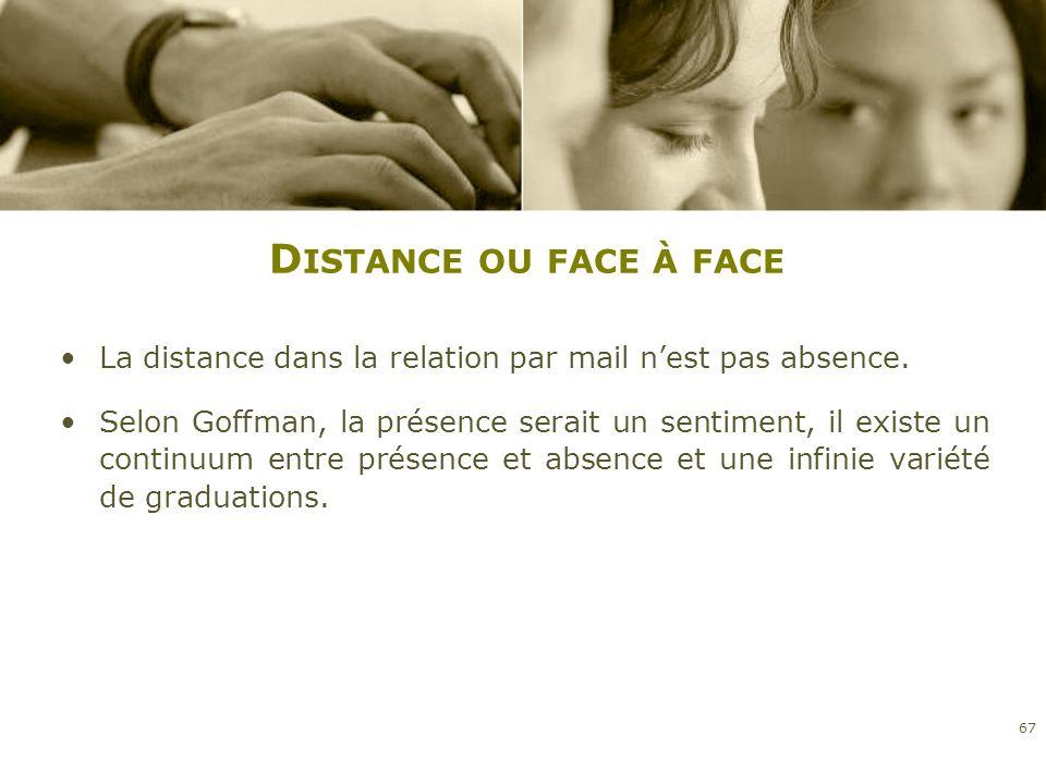 D ISTANCE OU FACE À FACE La distance dans la relation par mail nest pas absence. Selon Goffman, la présence serait un sentiment, il existe un continuu