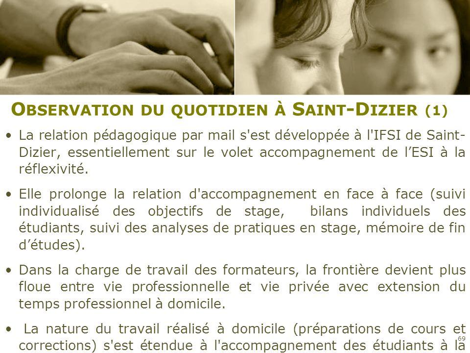 O BSERVATION DU QUOTIDIEN À S AINT -D IZIER (1) La relation pédagogique par mail s'est développée à l'IFSI de Saint- Dizier, essentiellement sur le vo