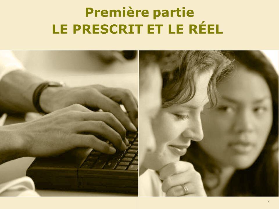 Première partie LE PRESCRIT ET LE RÉEL 7