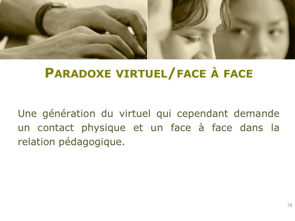 P ARADOXE VIRTUEL / FACE À FACE Une génération du virtuel qui cependant demande un contact physique et un face à face dans la relation pédagogique. 75