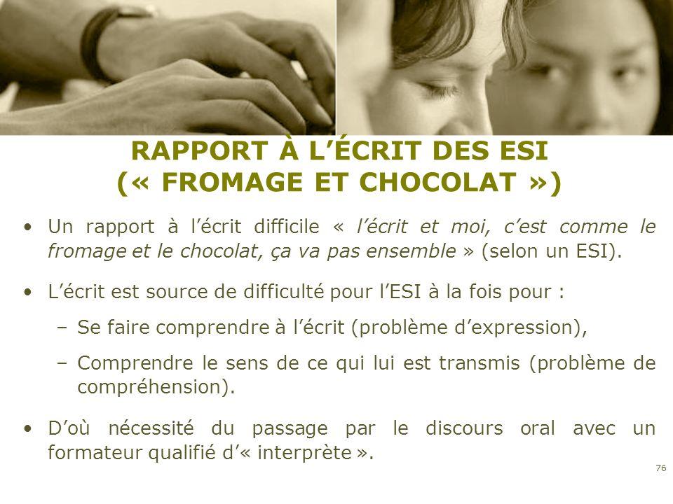 RAPPORT À LÉCRIT DES ESI (« FROMAGE ET CHOCOLAT ») Un rapport à lécrit difficile « lécrit et moi, cest comme le fromage et le chocolat, ça va pas ense