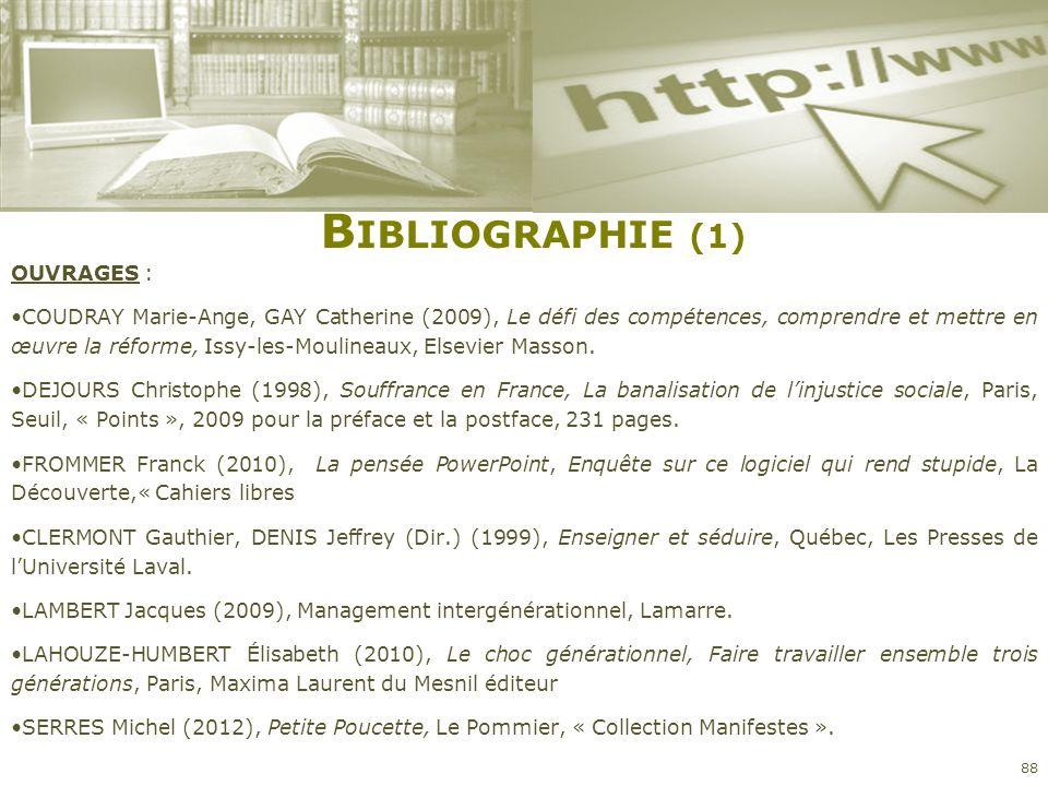 B IBLIOGRAPHIE (1) OUVRAGES : COUDRAY Marie-Ange, GAY Catherine (2009), Le défi des compétences, comprendre et mettre en œuvre la réforme, Issy-les-Mo