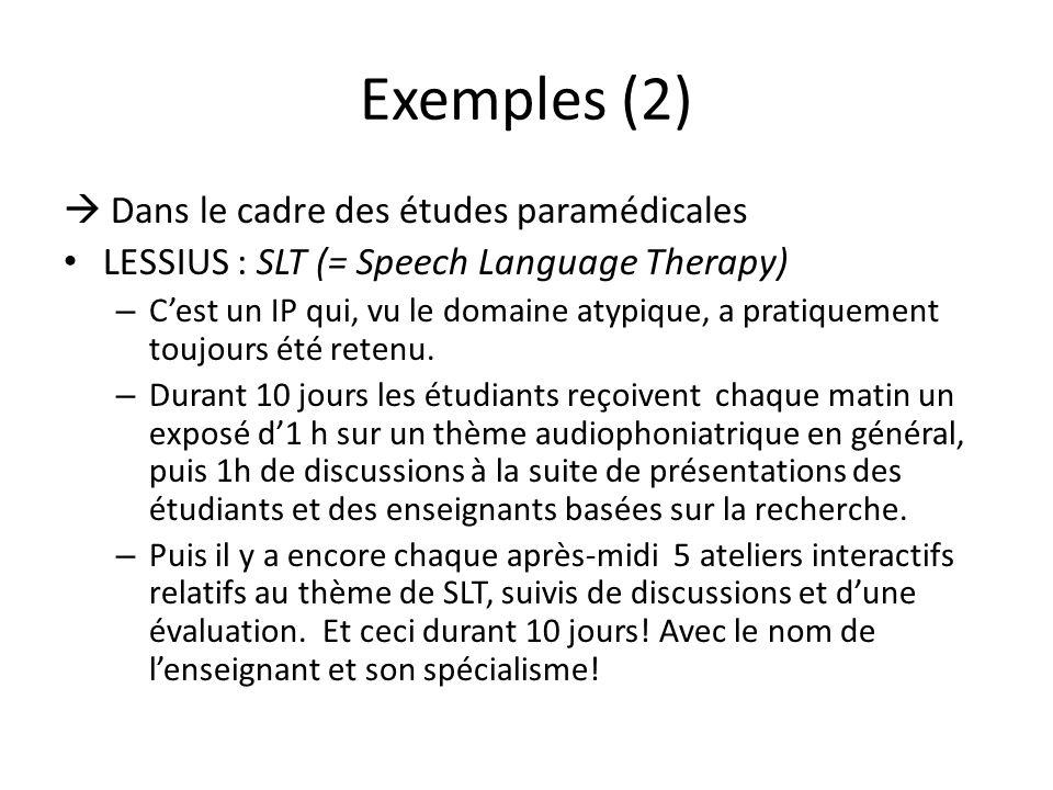 Exemples (2) Dans le cadre des études paramédicales LESSIUS : SLT (= Speech Language Therapy) – Cest un IP qui, vu le domaine atypique, a pratiquement toujours été retenu.