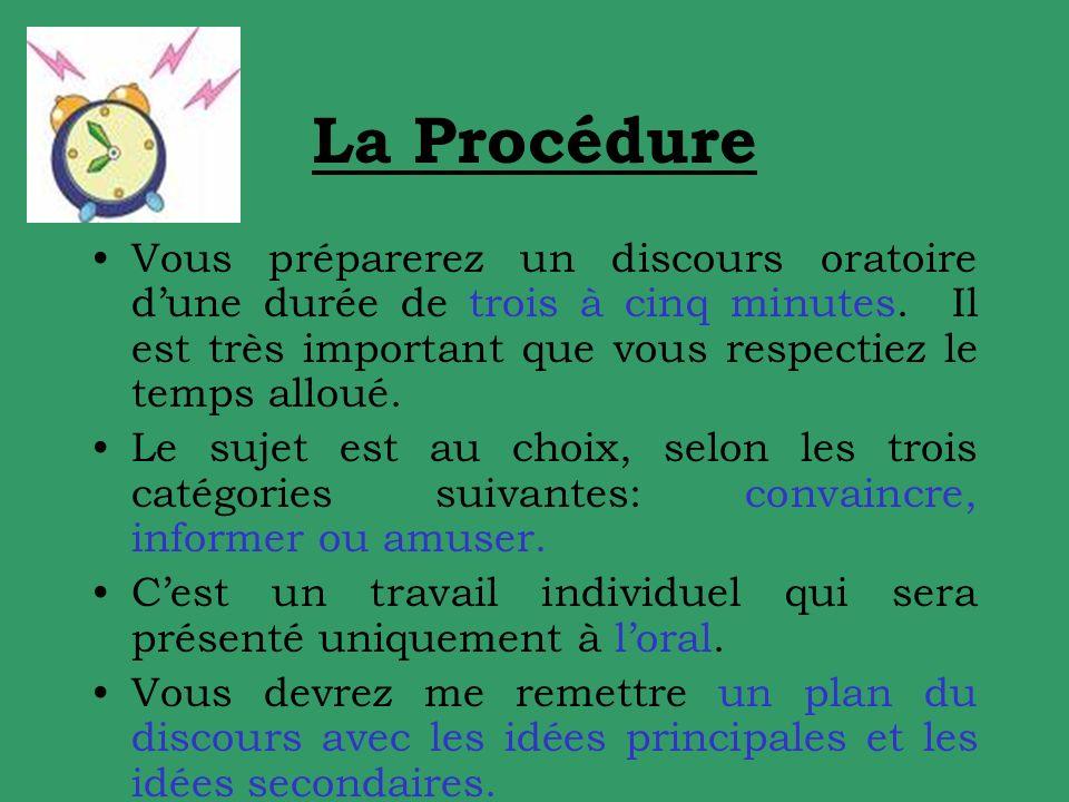 La Procédure Vous préparerez un discours oratoire dune durée de trois à cinq minutes.