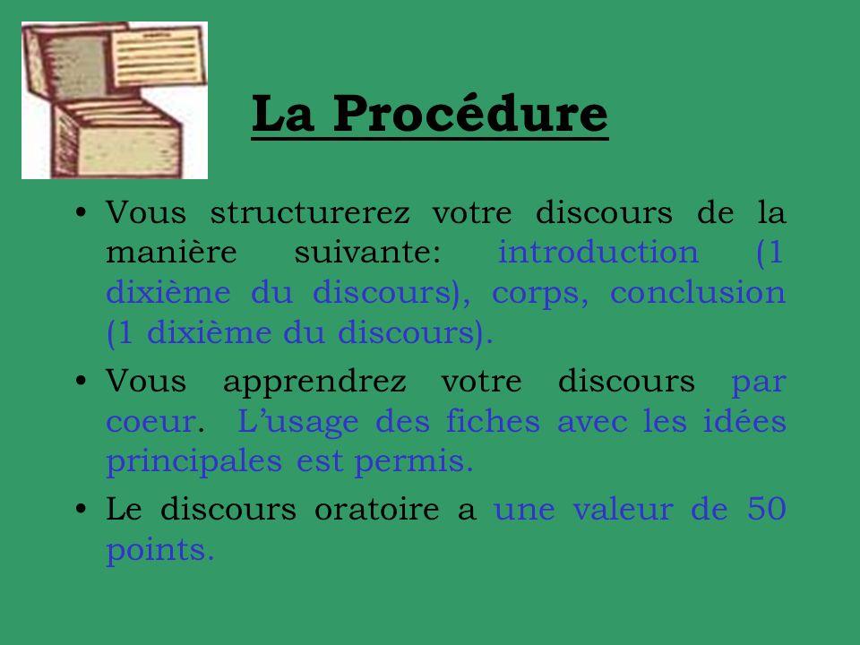 La Procédure Vous structurerez votre discours de la manière suivante: introduction (1 dixième du discours), corps, conclusion (1 dixième du discours).