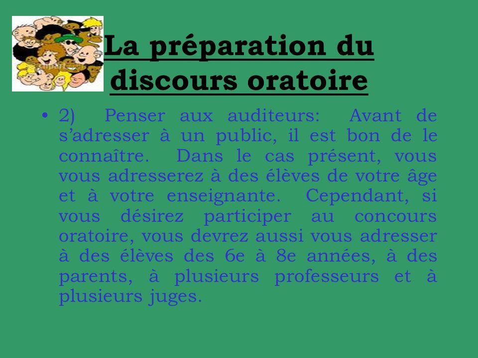La préparation du discours oratoire 2) Penser aux auditeurs: Avant de sadresser à un public, il est bon de le connaître.