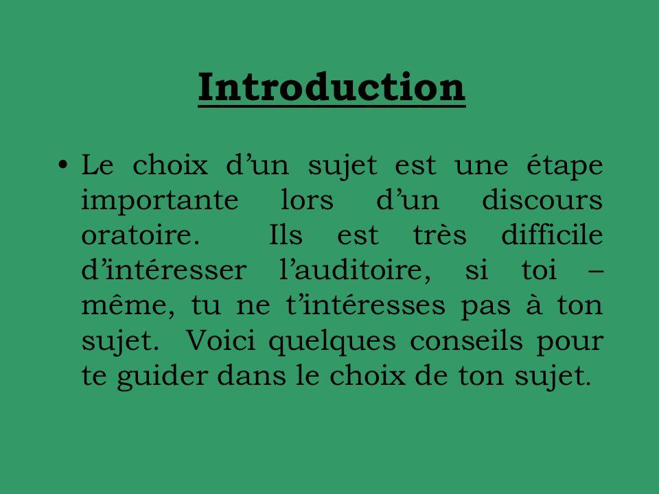 Introduction Le choix dun sujet est une étape importante lors dun discours oratoire.