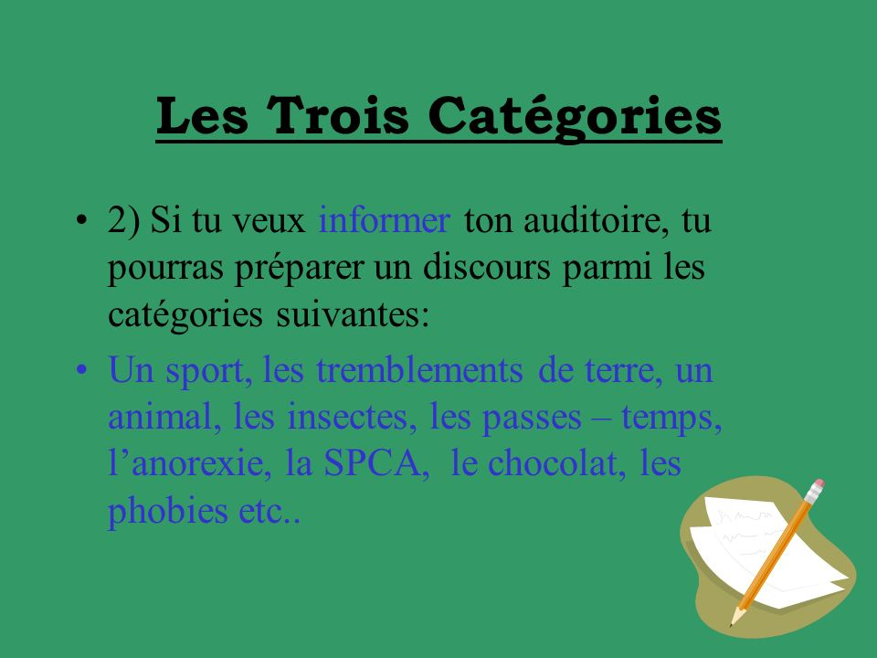 Les Trois Catégories 2) Si tu veux informer ton auditoire, tu pourras préparer un discours parmi les catégories suivantes: Un sport, les tremblements de terre, un animal, les insectes, les passes – temps, lanorexie, la SPCA, le chocolat, les phobies etc..