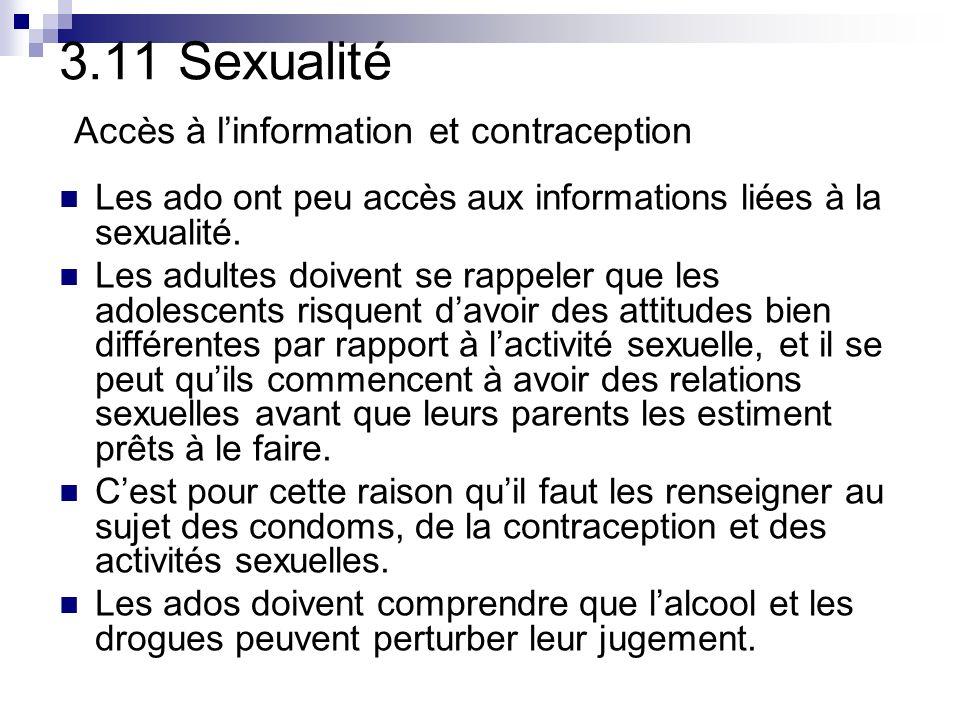 3.11 Sexualité Accès à linformation et contraception Les ado ont peu accès aux informations liées à la sexualité.