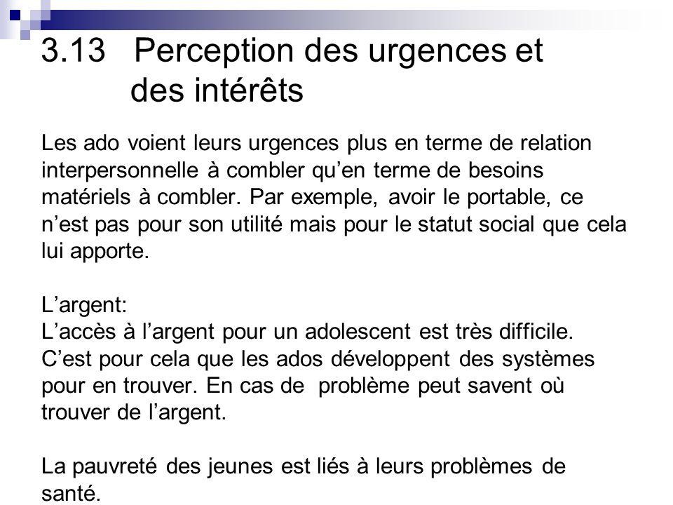 3.13 Perception des urgences et des intérêts Les ado voient leurs urgences plus en terme de relation interpersonnelle à combler quen terme de besoins matériels à combler.