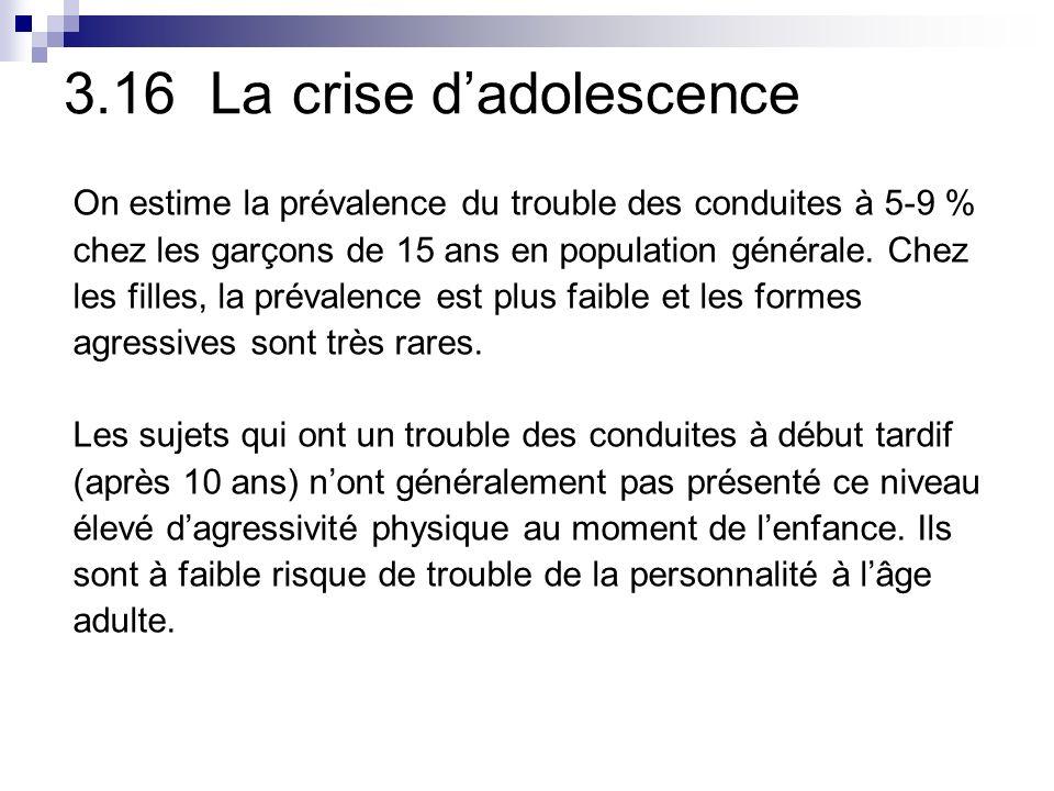 3.16 La crise dadolescence On estime la prévalence du trouble des conduites à 5-9 % chez les garçons de 15 ans en population générale.