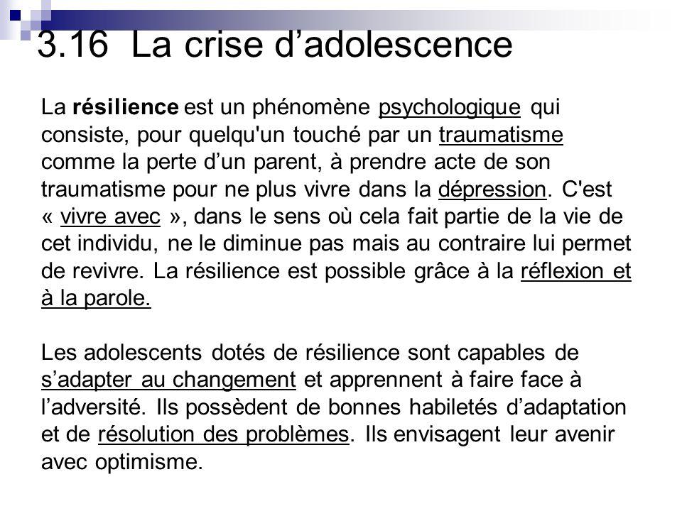 3.16 La crise dadolescence La résilience est un phénomène psychologique qui consiste, pour quelqu un touché par un traumatisme comme la perte dun parent, à prendre acte de son traumatisme pour ne plus vivre dans la dépression.