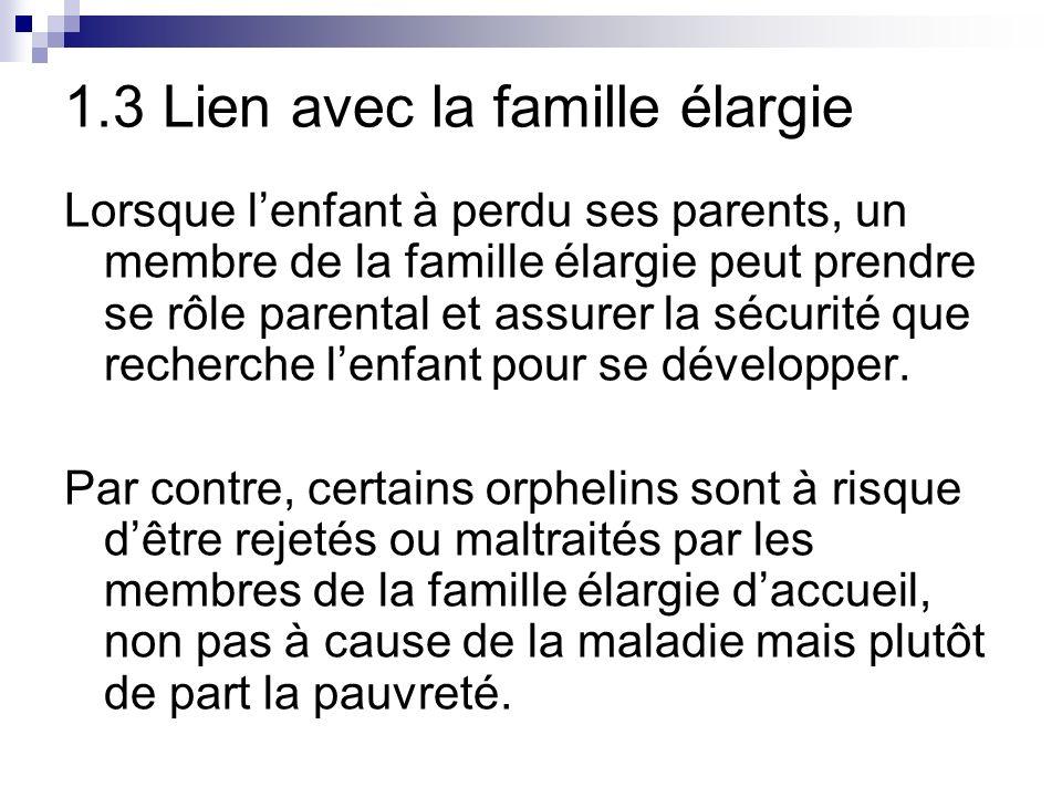 1.3 Lien avec la famille élargie Lorsque lenfant à perdu ses parents, un membre de la famille élargie peut prendre se rôle parental et assurer la sécurité que recherche lenfant pour se développer.