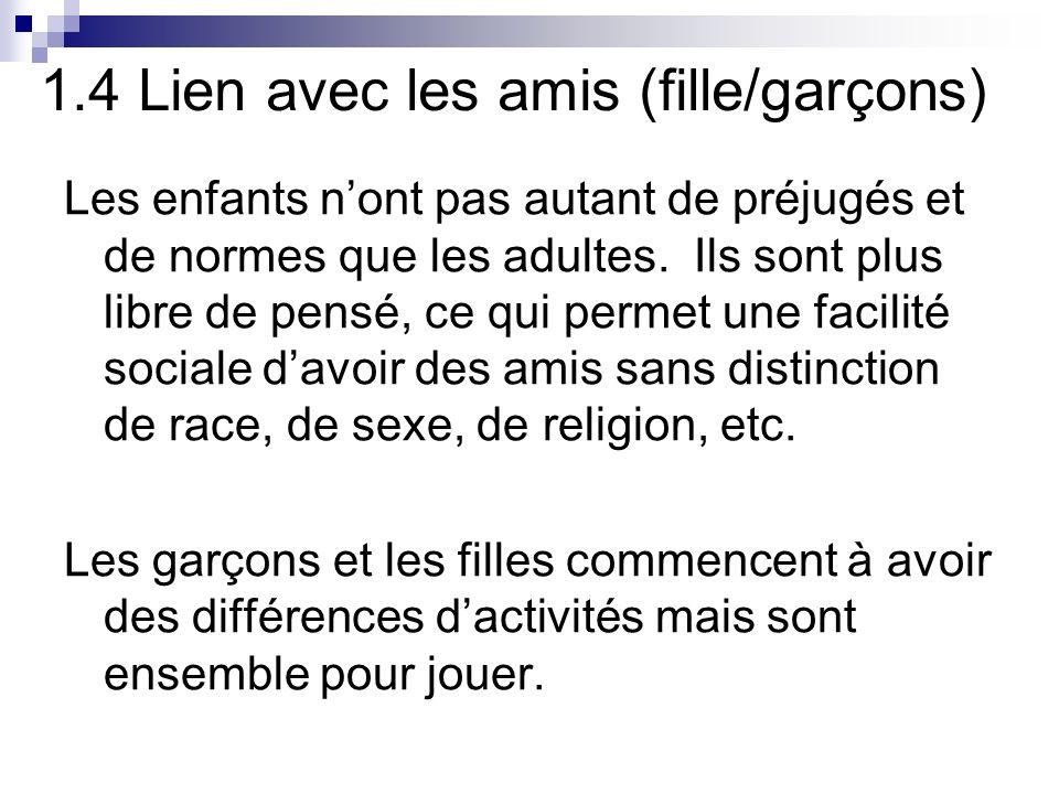 1.4 Lien avec les amis (fille/garçons) Les enfants nont pas autant de préjugés et de normes que les adultes.