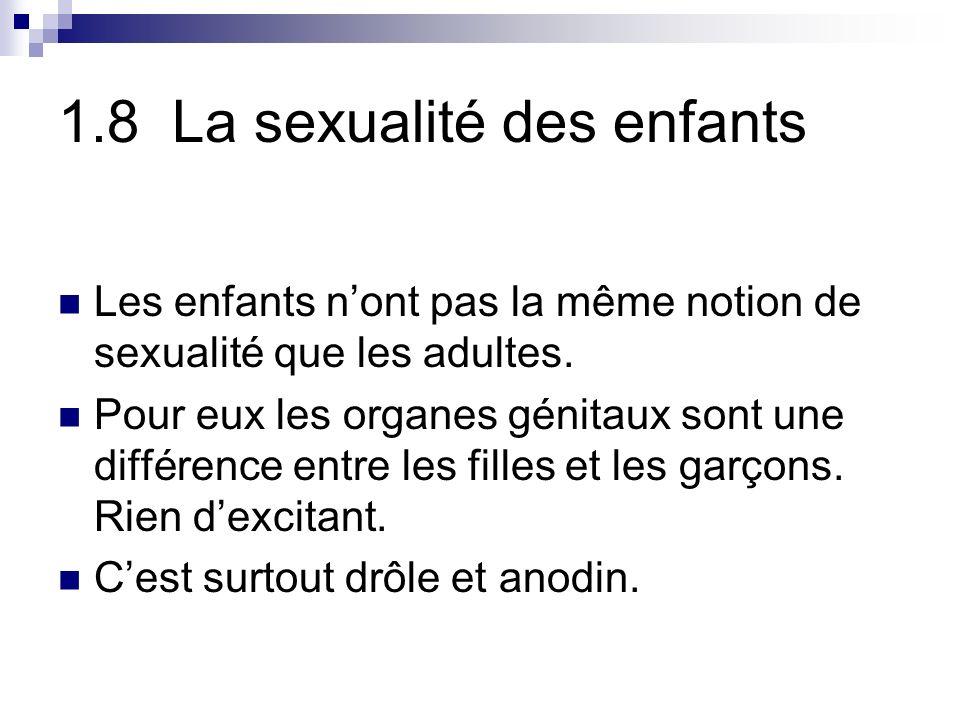 1.8 La sexualité des enfants Les enfants nont pas la même notion de sexualité que les adultes.