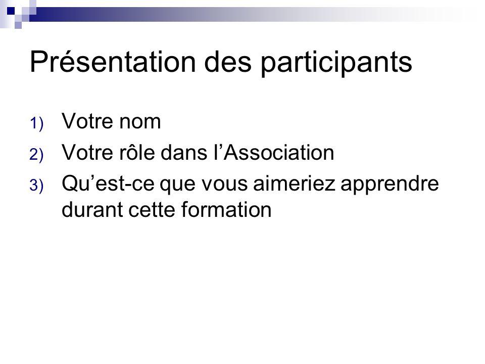 Présentation des participants 1) Votre nom 2) Votre rôle dans lAssociation 3) Quest-ce que vous aimeriez apprendre durant cette formation