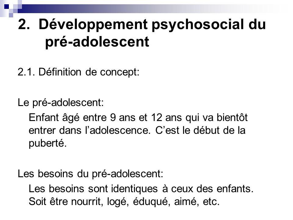 2.Développement psychosocial du pré-adolescent 2.1.