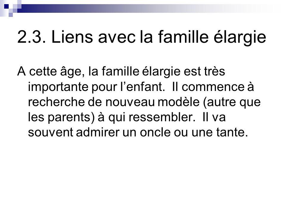 2.3. Liens avec la famille élargie A cette âge, la famille élargie est très importante pour lenfant. Il commence à recherche de nouveau modèle (autre