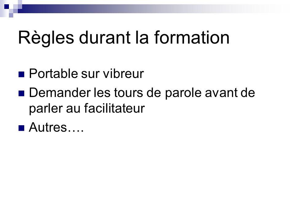 Règles durant la formation Portable sur vibreur Demander les tours de parole avant de parler au facilitateur Autres….