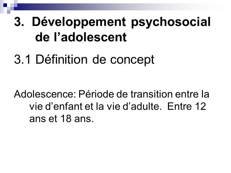 3. Développement psychosocial de ladolescent 3.1 Définition de concept Adolescence: Période de transition entre la vie denfant et la vie dadulte. Entr