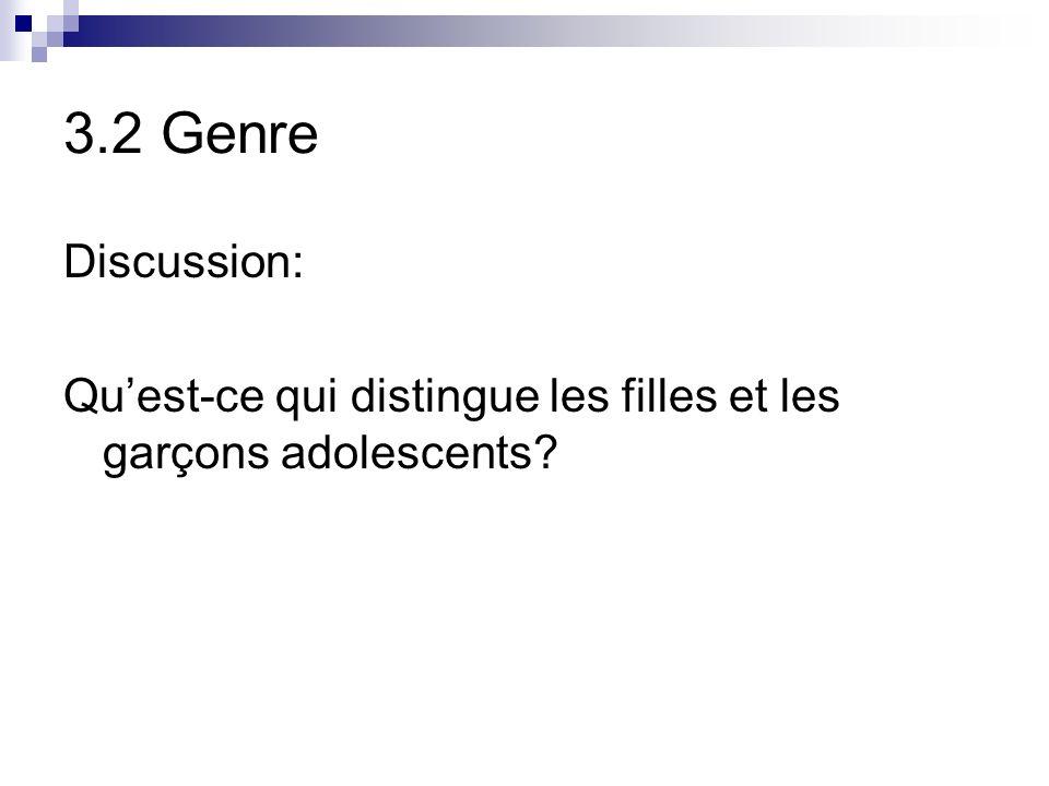 3.2 Genre Discussion: Quest-ce qui distingue les filles et les garçons adolescents?