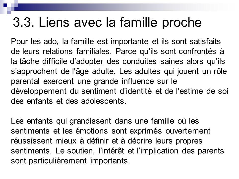 3.3. Liens avec la famille proche Pour les ado, la famille est importante et ils sont satisfaits de leurs relations familiales. Parce quils sont confr