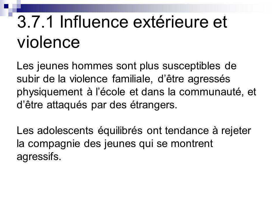 3.7.1 Influence extérieure et violence Les jeunes hommes sont plus susceptibles de subir de la violence familiale, dêtre agressés physiquement à lécole et dans la communauté, et dêtre attaqués par des étrangers.