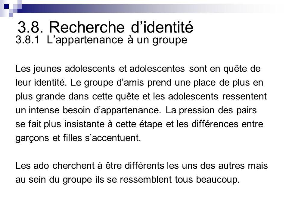 3.8. Recherche didentité 3.8.1 Lappartenance à un groupe Les jeunes adolescents et adolescentes sont en quête de leur identité. Le groupe damis prend