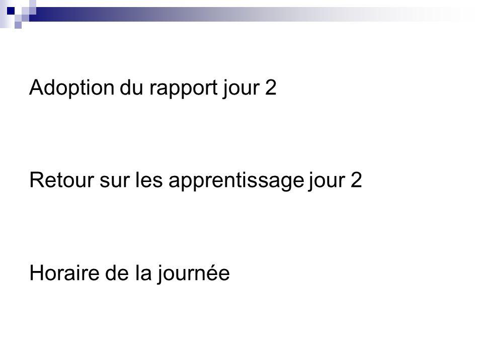 Adoption du rapport jour 2 Retour sur les apprentissage jour 2 Horaire de la journée