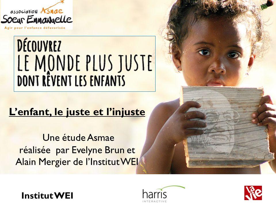 Institut WEI Lenfant, le juste et linjuste Une étude Asmae réalisée par Evelyne Brun et Alain Mergier de lInstitut WEI