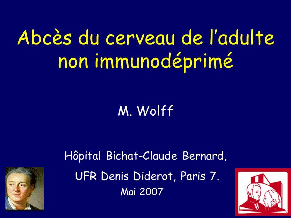 Abcès du cerveau de ladulte non immunodéprimé M. Wolff Hôpital Bichat-Claude Bernard, UFR Denis Diderot, Paris 7. Mai 2007