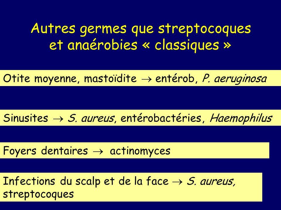 Autres germes que streptocoques et anaérobies « classiques » Otite moyenne, mastoïdite entérob, P. aeruginosa Sinusites S. aureus, entérobactéries, Ha