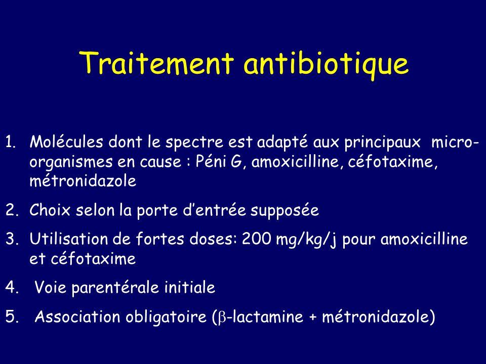 Traitement antibiotique 1.Molécules dont le spectre est adapté aux principaux micro- organismes en cause : Péni G, amoxicilline, céfotaxime, métronidazole 2.Choix selon la porte dentrée supposée 3.Utilisation de fortes doses: 200 mg/kg/j pour amoxicilline et céfotaxime 4.