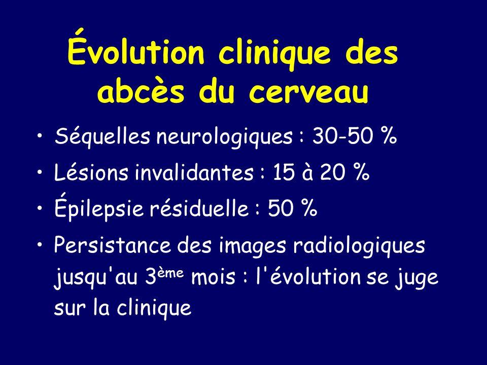 Évolution clinique des abcès du cerveau Séquelles neurologiques : 30-50 % Lésions invalidantes : 15 à 20 % Épilepsie résiduelle : 50 % Persistance des