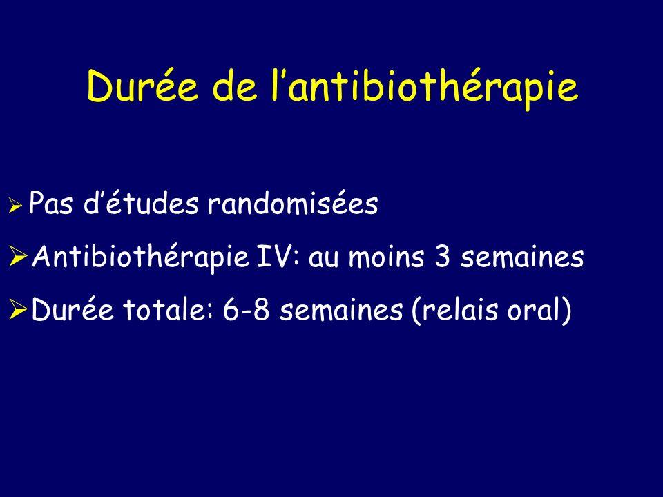 Durée de lantibiothérapie Pas détudes randomisées Antibiothérapie IV: au moins 3 semaines Durée totale: 6-8 semaines (relais oral)