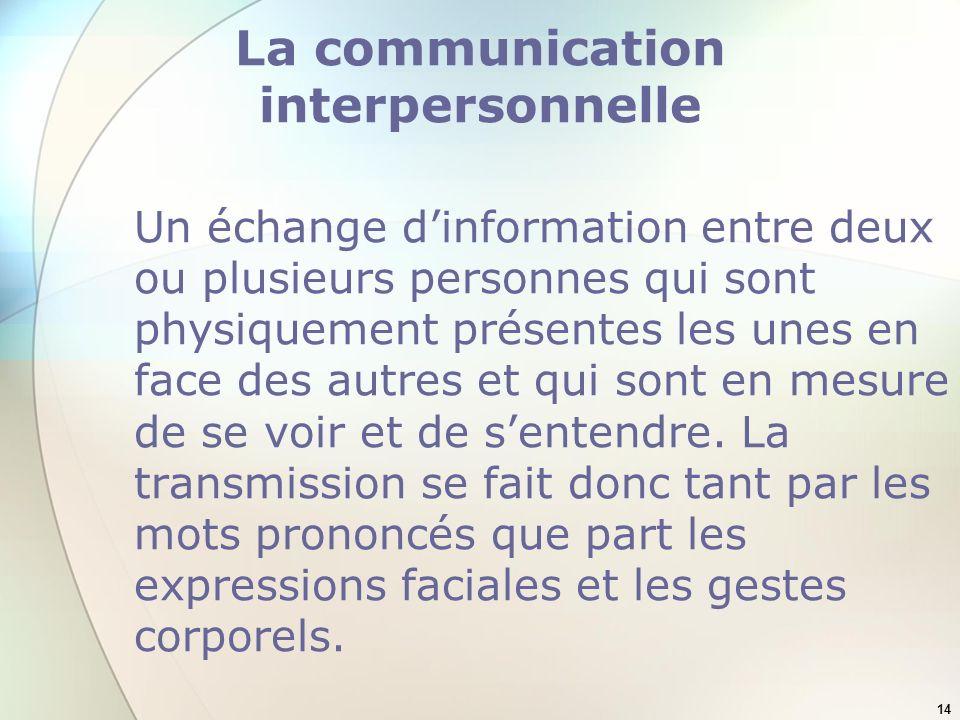 14 La communication interpersonnelle Un échange dinformation entre deux ou plusieurs personnes qui sont physiquement présentes les unes en face des autres et qui sont en mesure de se voir et de sentendre.
