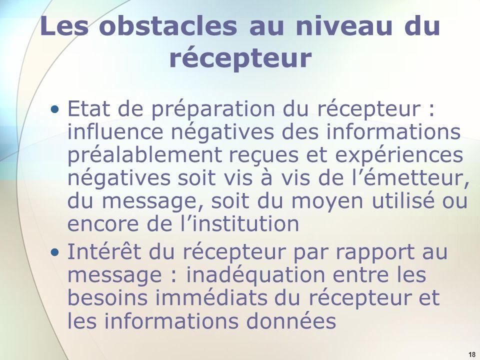 18 Les obstacles au niveau du récepteur Etat de préparation du récepteur : influence négatives des informations préalablement reçues et expériences né