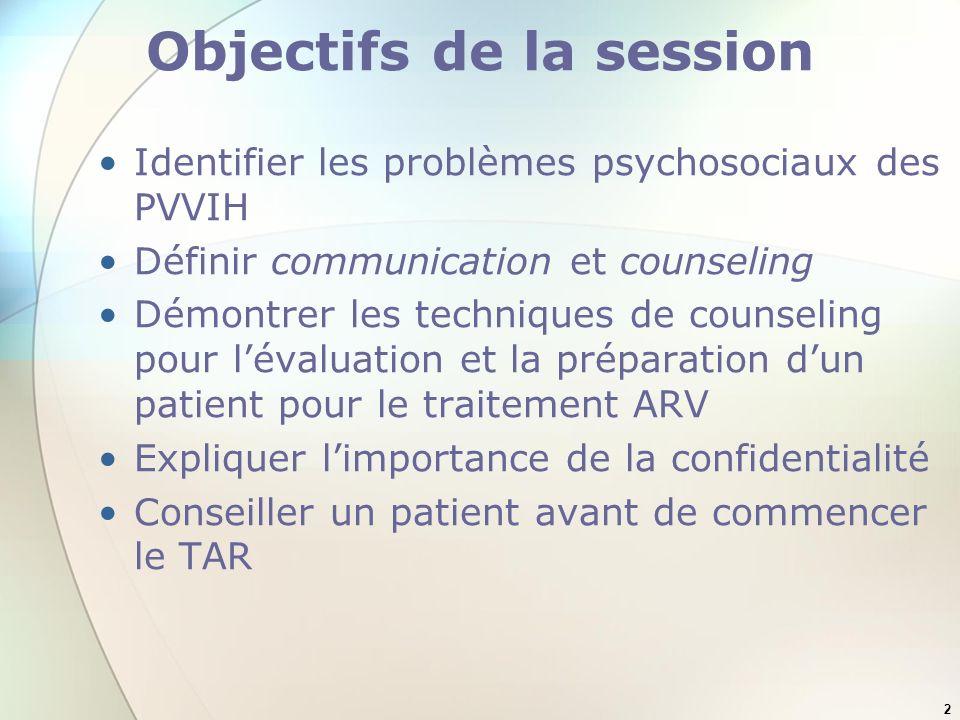2 Objectifs de la session Identifier les problèmes psychosociaux des PVVIH Définir communication et counseling Démontrer les techniques de counseling