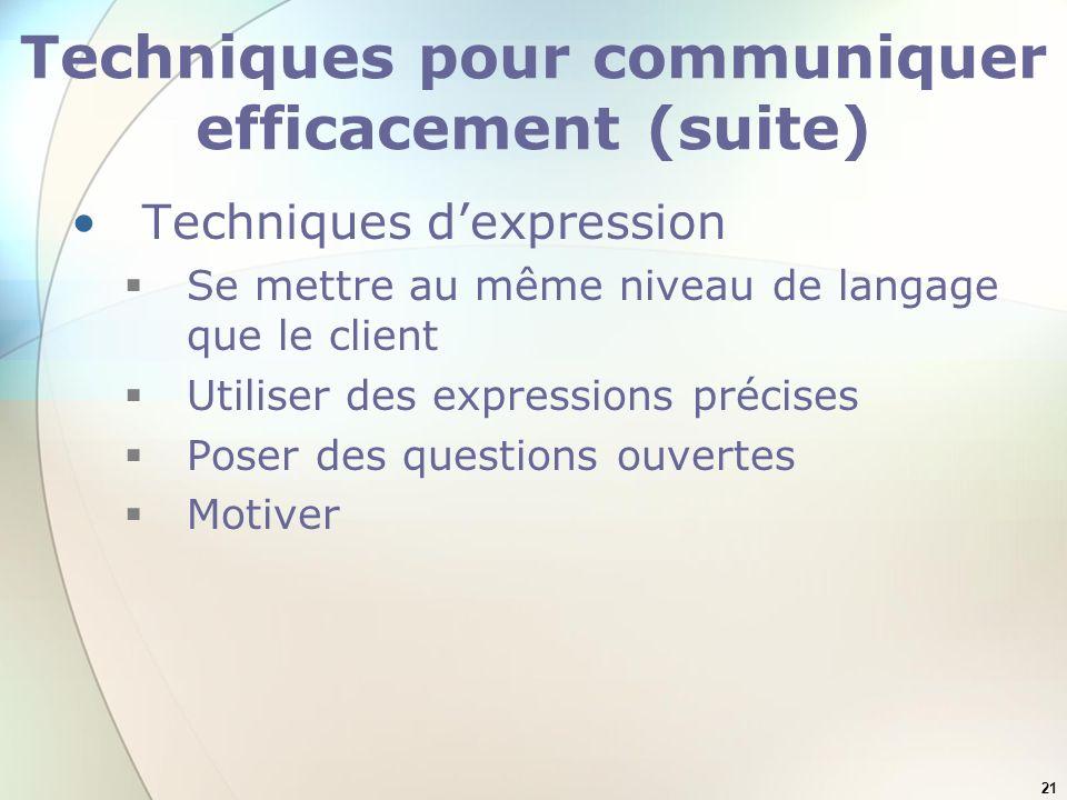 21 Techniques pour communiquer efficacement (suite) Techniques dexpression Se mettre au même niveau de langage que le client Utiliser des expressions précises Poser des questions ouvertes Motiver