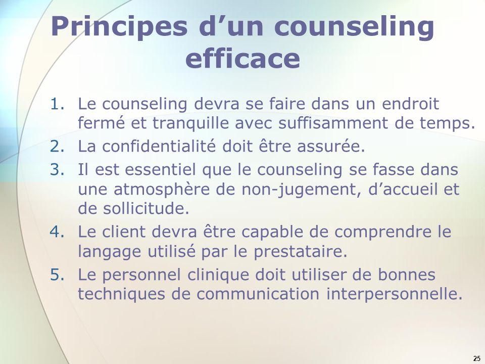 25 Principes dun counseling efficace 1.Le counseling devra se faire dans un endroit fermé et tranquille avec suffisamment de temps. 2.La confidentiali
