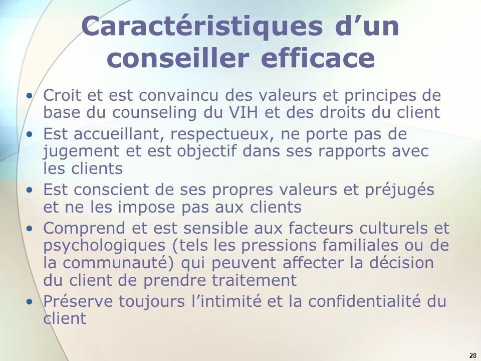 28 Caractéristiques dun conseiller efficace Croit et est convaincu des valeurs et principes de base du counseling du VIH et des droits du client Est a