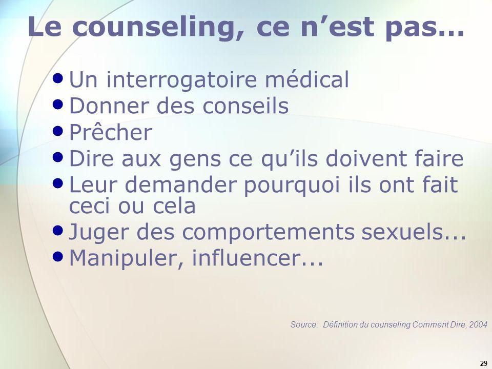 29 Le counseling, ce nest pas… Un interrogatoire médical Donner des conseils Prêcher Dire aux gens ce quils doivent faire Leur demander pourquoi ils ont fait ceci ou cela Juger des comportements sexuels...