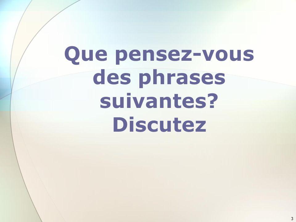 3 Que pensez-vous des phrases suivantes? Discutez